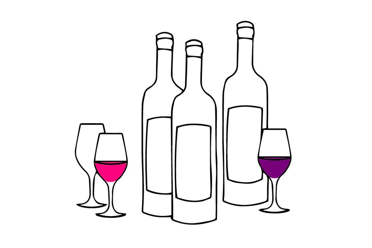Dessin de bouteilles de vins